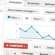 A close up of a Google Adwords campaign dashboard | Tribus Creative - marketing services for small businesses
