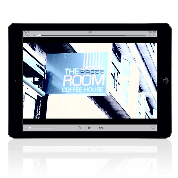 An iPad showing a video for the Press Room coffee house | Tribus Creative - content creation for small businesses
