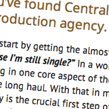 A close up of an example of web copywriting for Central Quest | Tribus Creative - copywriting services for small business