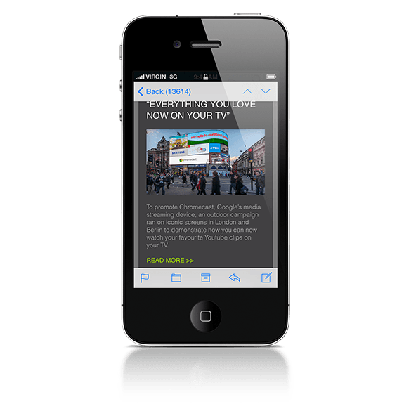 An iPhone displaying an email newsletter for advertising production company Grand Visual | Tribus Creative - content distribution for small businesses