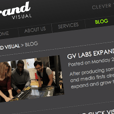 A close-up of a website design for Grand Visual Theory Ltd | Tribus Creative - web design services for small businesses
