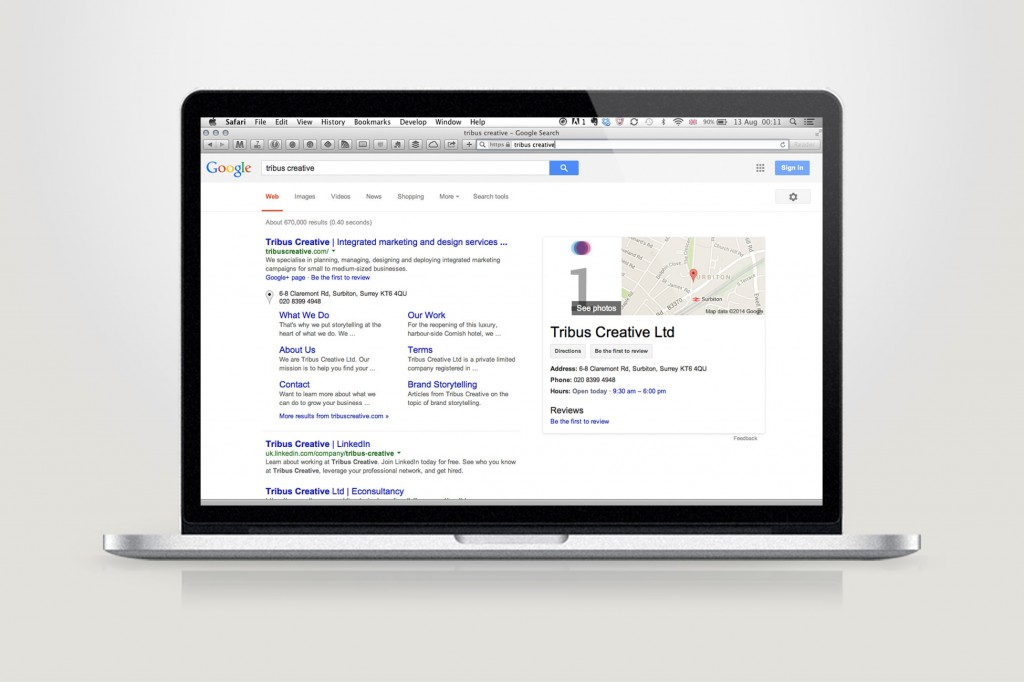 An image of a search engine results page on a laptop screen – Tribus Creative, web design for SMEs
